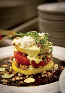 Heirloom tomato salad is one popular dish served at the restaurant when the veggies are in season on the farm.