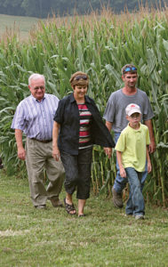David, Brent, Dylan and Kathy, Dylan's grandmother, on the farm.