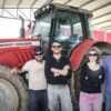 Nahar, who is in charge of potatoes at Kibbutz Nirim (second from left), with Omer Glili (far left), a part-time farm worker when he's not working on his Ph.D.; Ofra Razz, who is in charge of Nirim's pest management; and Ohad Gotshtat, Nirim farm manager.