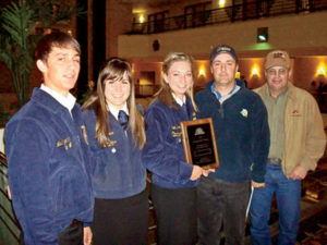 Levi Swenson, Natalie Crum, Audrey Smith, Walla Walla High School FFA Advisor Arch McHie, and Steve Bughi