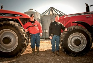 Craig, left, and brother Mark, make the most of the time they have for farming with tractors from AGCO and Massey Ferguson that are in many ways interchangeable.