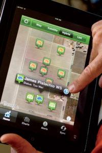 Moisture monitoring via an iPad