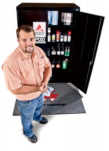 Kyle Goforth, field service mechanic at Atlantic & Southern Equipment in Tifton, Ga., stocks a POD cabinet, which is available at a special price for a limited time.