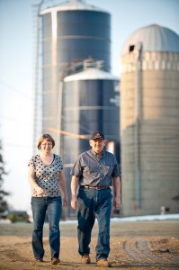 Larry and wife, Kari, on the farm.