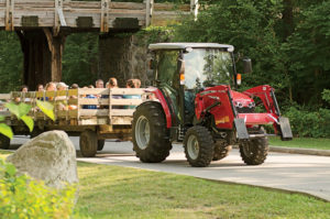 The Colemans' MF1742 takes guests on a hayride.