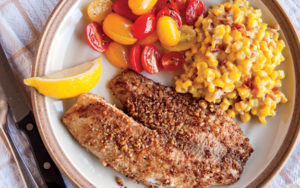 Pecan-Crusted Trout and Creamed Corn with Bacon