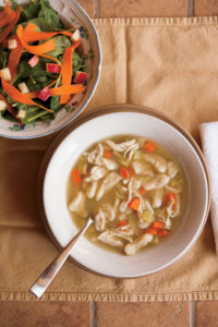 Creamy Chicken and Dumplings and Carrot-Apple-Spinach Salad