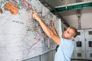 Farmer and farmers union leader Ami Brochin shows a map of the Be'er Sheva-area wastewater treatment network. It was constructed with a combination of government and private funds, including Moshavei HaNegev, the regional water and agriculture association that manages some 34,600 acres of farmland.