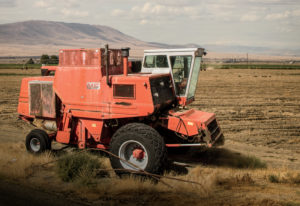 Ben Grant's Massey Ferguson 750 prototype combine. Before being retired, it logged 24,000 hours and traveled around the world two times.