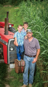"Cole and Tommy with their dad. ""The boys deserve me to be here,"" says Cody Waters, who makes time for them between working a full-time job and maintaining two farms 250 miles apart."