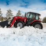 Massey Ferguson tractor in the snow