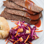 Cola-Braised Beef Brisket with Red Cabbage-Apple-Carrot Salad